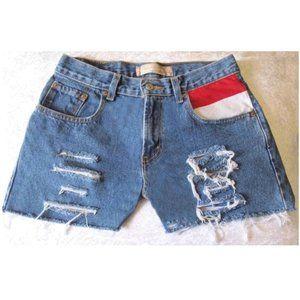 "American Flag Cut-Off Levi's Denim Shorts Size 28"""